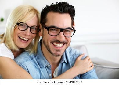 Middle-aged couple wearing eyeglasses a067775fe7e4