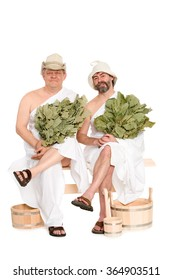 Middle-aged men in traditional Russian sauna bathing costumes. From a series of Russian bath