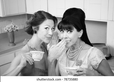 Middle-aged retro styled Caucasian woman whispers secret to her friend