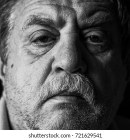 middle-aged sad caucasian man, black and white