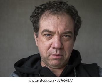 Middle-aged sad man. Close-up portrait