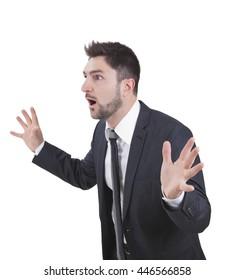 middle-aged surprised elegant businessman with blue suit
