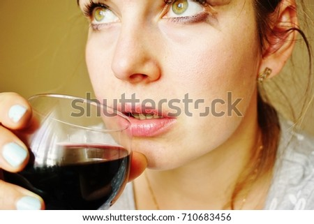 Middleaged Woman Poor Condition Glass Red Stock Photo Edit Now