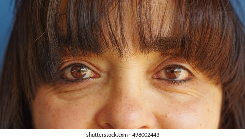 Middleaged woman's eyes. She is looking at the camera with a deep look