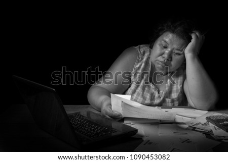middleaged women asia have financial problems stock photo edit now