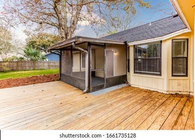 Middleburg, Florida / USA - March 2 2020: Nice wooden patio with screened in porch