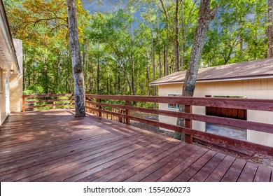 Middleburg, Florida / USA - November 8 2019: Deck outside a house