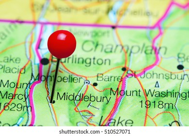 Middlebury pinned on a map of Vermont, USA