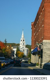 Middlebury, VT - October 5 2007: The street view of the small town with the Congregational Church of Middlebury and fall foliage.