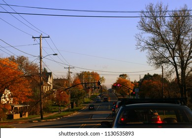 Middlebury, VT - October 5 2007: The street view of the small town Middlebury with fall foliage.