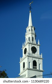 Middlebury, VT - October 5 2007: The tower of The Congregational Church of Middlebury