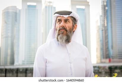 Middle-eastern senior man with traditional kandora in Dubai