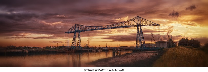 Middlesbrough, Cleveland / England - 24th July 2018 : Transporter bridge in Middlesbrough. Historical landmark from the North East of England.