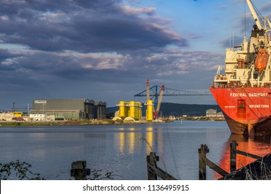 Middlesbrough, Cleveland / England - July 17th 2018 : River tees docks just before sunset.
