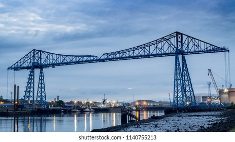 Middlesbrough, Cleveland / England - July 23rd 2018 : Middlesbrough Transporter bridge over the river Tees. First opened in 1911 and is still used to this day.