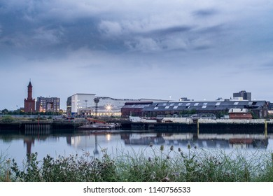 Middlesbrough, Cleveland / England - July 23rd 2018 : River Tees in Middlesbrough.