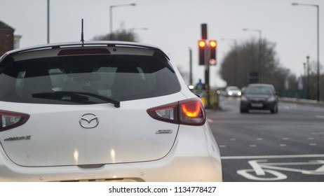 Middlesbrough, Cleveland / England - March 18th 2018 : Queuing in traffic, Middlesbrough. North east town in England. Viewpoint from another car.