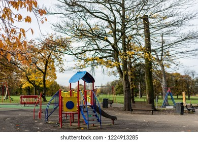 Middlesbrough, Cleveland / England - November 8th 2018 : Empty children's playground during autumn.