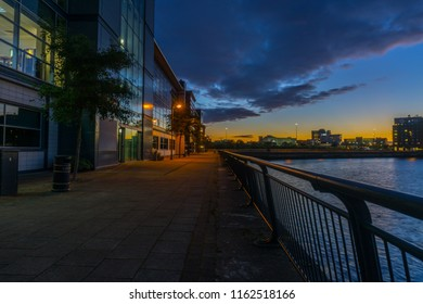 Middlesbrough, Cleveland / England - October 5th 2017 : Middlesbrough riverside at night.