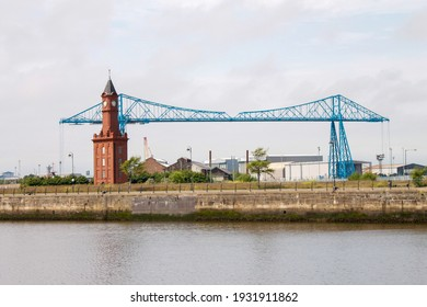 Middlesbrough dock at Middlehaven showing the dock clock and historic Middlesbrough