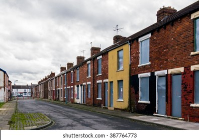 Middlesbrough, England 20 February 2016. Boarded up houses.