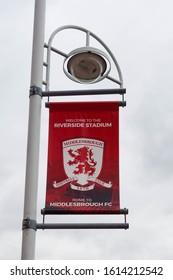 MIDDLESBROUGH, ENGLAND - OCTOBER 21, 2019: Middlesbrough FC banner outside Riverside Stadium in Middlesbrough, England