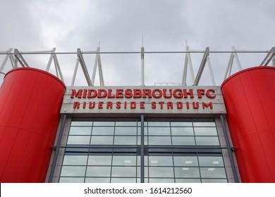 MIDDLESBROUGH, ENGLAND - OCTOBER 21, 2019: Middlesbrough FC sign at Riverside Stadium in Middlesbrough, England