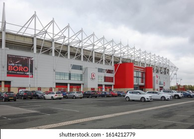 MIDDLESBROUGH, ENGLAND - OCTOBER 21, 2019: Exterior view of Riverside Stadium in Middlesbrough, England