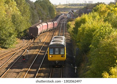 MIDDLESBROUGH, NORTH YORKSHIRE, UK - OCTOBER 9, 2012: Northern Rail DMU Class 142 No. 142025 heads through Middlesbrough with a passenger service to Darlington.