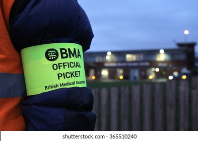 MIDDLESBROUGH, TEESSIDE/UK - JANUARY 12th 2016 - A junior doctor on the picket line at James Cook University Hospital in Middlesbrough on January 12th 2016