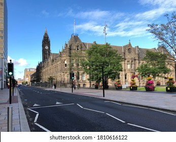Middlesbrough town centre. The Middlesbrough town hall and its clock tower is seen.