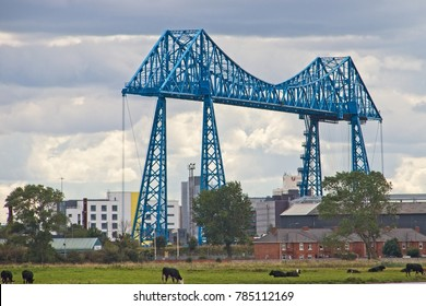 Middlesbrough Transporter Bridge newly painted in blue. Middlesbrough. 26th August, 2017.  2pm