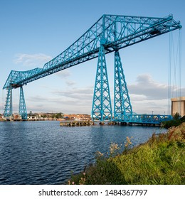 Middlesbrough Transporter Bridge at sunrise. The Bridge carries people and cars over the River Tees in a suspended gondola
