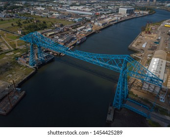 Middlesbrough Transporter Bridge that crosses the river Tees between Middlesbrough and Stockton. Iconic bridge over 100 years old