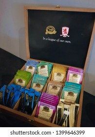 Middlesbrough, Tyne and Wear, England - 9th May 2019:  Refreshments in the form of tea, herbal tea and coffee. Displayed in a wooden box with Middlesbrough Football Club branding. Conference meeting.