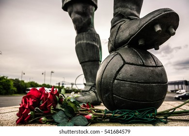 middlesbrough, UK, APRIL 17 2014. monument at middlesbrough Football Club ,riverside stadium, in UK