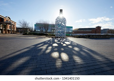 Middlesbrough, UK. - March 17, 2019: Bottle of Notes, a sculpture by Claes Oldenburg and Coosje van Bruggen in the town centre. It is inspired by the history of Captain Cook, born in Middlesbrough.