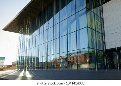 Middlesbrough, UK. - March 17, 2019: The Middlesbrough Institute of Modern Art (MIMA). The building, designed by Erick van Egeraat Architects, was opened in 2007.