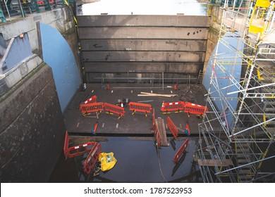 Middlesbrough, United Kingdom - July 29,2020: Under maintenance Tees Barrage Bridge barrages