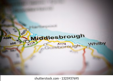 Middlesbrough. United Kingdom on a geography map