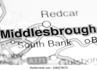 Middlesbrough. United Kingdom on a map