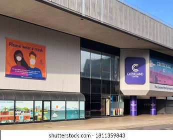 Middlesbrough/UK, 6 August 2020. Middlesbrough town centre, the exterior of the Cleveland shopping centre. A coronavirus notice is advising shoppers to wear face mask.