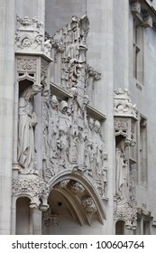 Middlesex Guildhall facade detail, London, UK