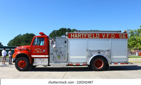 MIDDLESEX, VA - SEPTEMBER 27, 2014: A Hartfield volunteer fire department, V.F.D. truck #56 at the wings, wheels and keels Hummel Air Field airport Aviation air field and runway in Middlesex VA