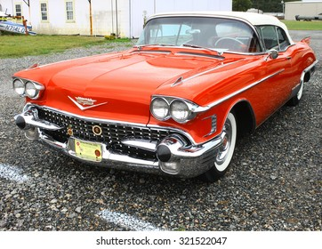Middlesex, VIRGINIA - SEPTEMBER 26, 2015: A Red 1958 Cadillac Eldorado convertible at the Wings Wheels & Keels 19th annual event held each September in Middlesex VA
