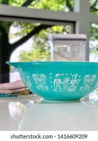 Middleton, WI/USA-June 5, 2019: retro Pyrex mixing bowl in aqua