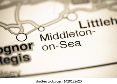 Middleton-on-Sea. United Kingdom on a map