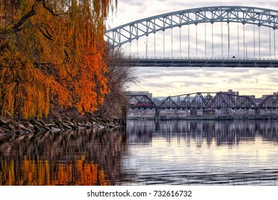Middletown Connecticut from the Connecticut River in Fall