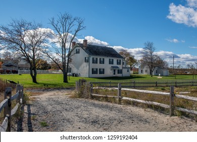 MIDDLETOWN NEW JERSEY - NOVEMBER 3 - The historic Seabrook Wilson home dating back to 1720 as seen on November 3 2018 in Bayshore Waterfront Park in Middletown NJ.