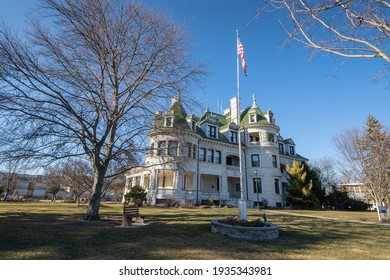 Middletown, NY - USA - Mar 13, 2021: View of Morris Hall of Orange County Community College or SUNY Orange. Formally the Webb Horton House, an ornate 40-room mansion in Middletown.